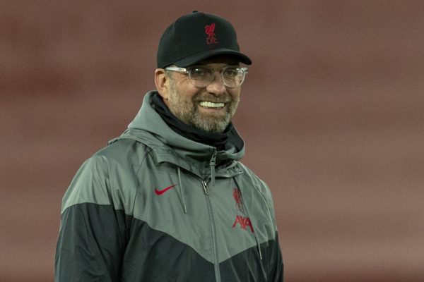 LIVERPOOL, ENGLAND - Tuesday, October 27, 2020: Liverpool's manager Jürgen Klopp during the pre-match warm-up before the UEFA Champions League Group D match between Liverpool FC and FC Midtjylland at Anfield. (Pic by David Rawcliffe/Propaganda)