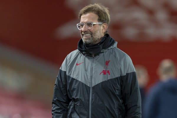 LIVERPOOL, ENGLAND - Tuesday, October 27, 2020: Liverpool's manager Jürgen Klopp before the UEFA Champions League Group D match between Liverpool FC and FC Midtjylland at Anfield. (Pic by David Rawcliffe/Propaganda)
