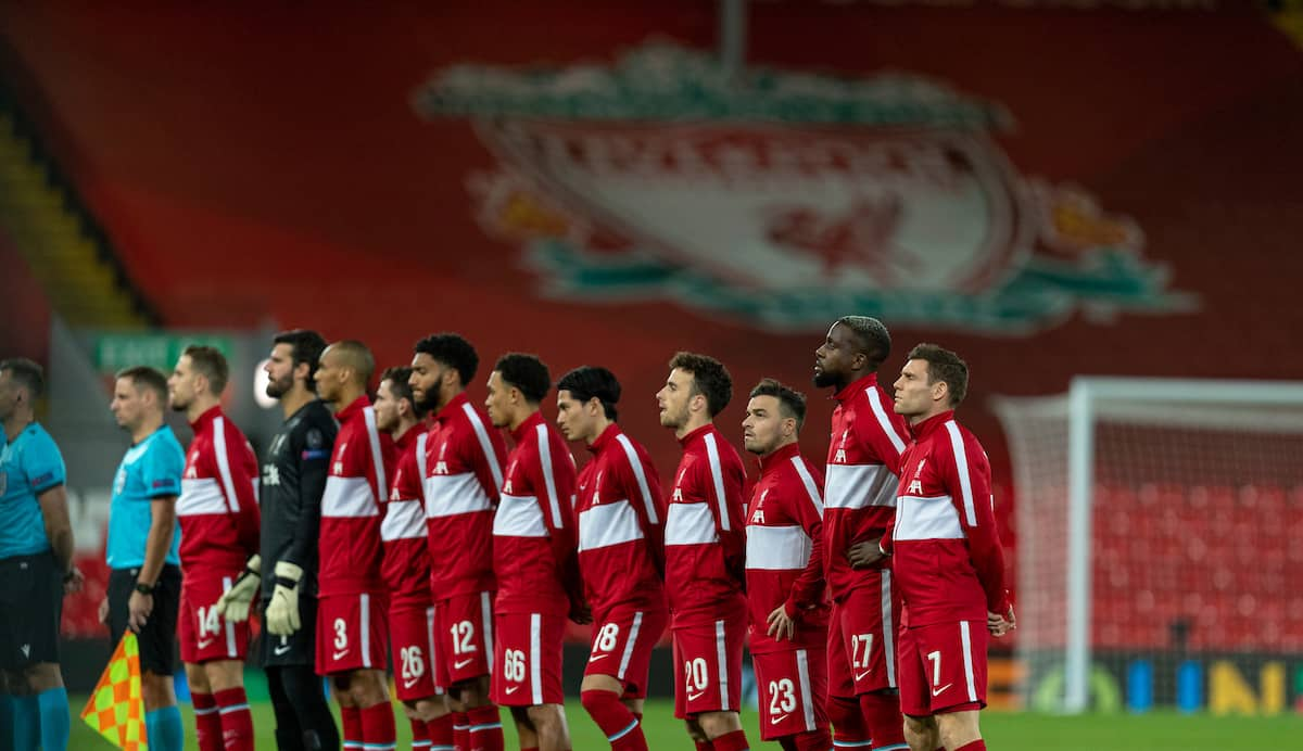 LIVERPOOL, ENGLAND - Tuesday, October 27, 2020: Liverpool players line-up before the UEFA Champions League Group D match between Liverpool FC and FC Midtjylland at Anfield. (Pic by David Rawcliffe/Propaganda)