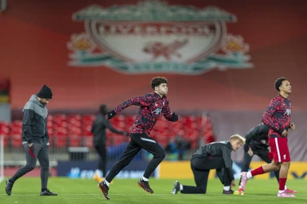 LIVERPOOL, ENGLAND - Tuesday, October 27, 2020: Liverpool's Neco Williams during the pre-match warm-up before the UEFA Champions League Group D match between Liverpool FC and FC Midtjylland at Anfield. (Pic by David Rawcliffe/Propaganda)
