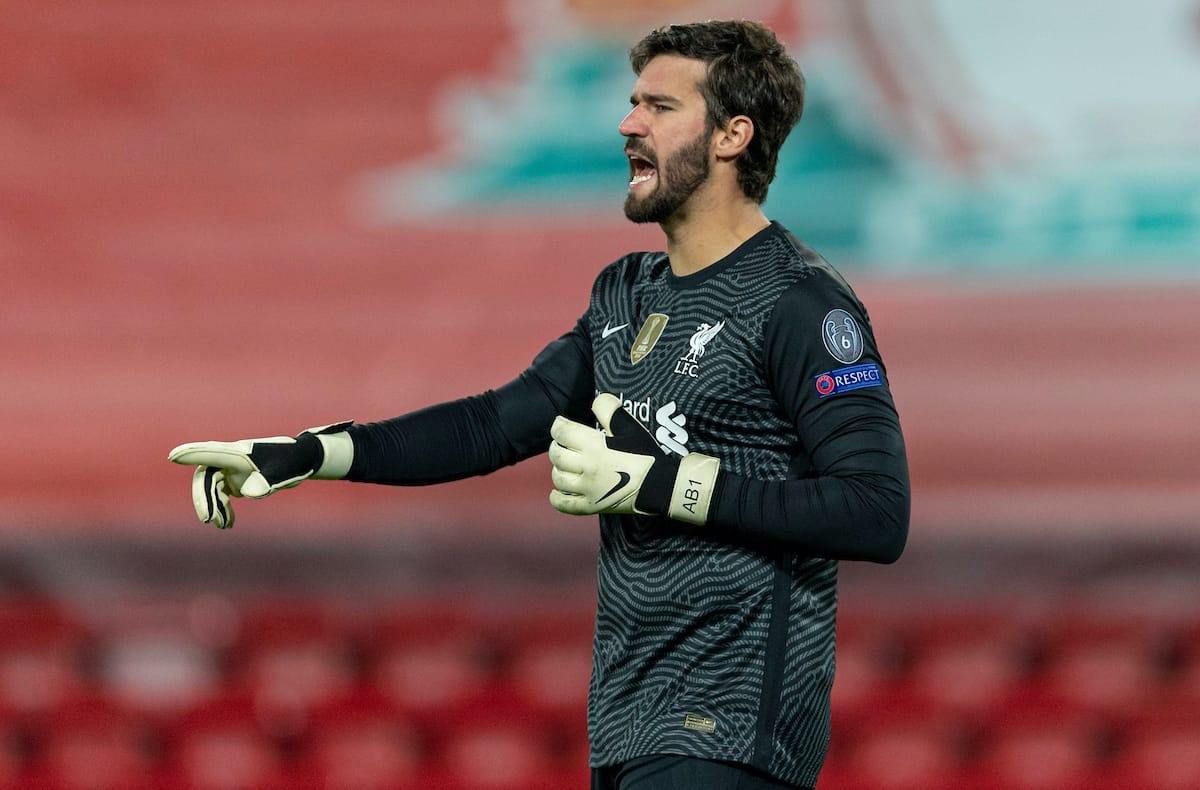 LIVERPOOL, ENGLAND - Tuesday, October 27, 2020: Liverpool's goalkeeper Alisson Becker during the UEFA Champions League Group D match between Liverpool FC and FC Midtjylland at Anfield. (Pic by David Rawcliffe/Propaganda)
