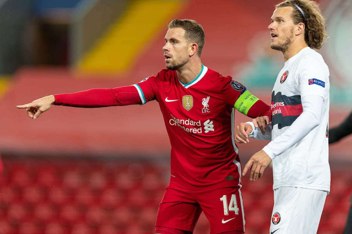 LIVERPOOL, ENGLAND - Tuesday, October 27, 2020: Liverpool's captain Jordan Henderson during the UEFA Champions League Group D match between Liverpool FC and FC Midtjylland at Anfield. (Pic by David Rawcliffe/Propaganda)