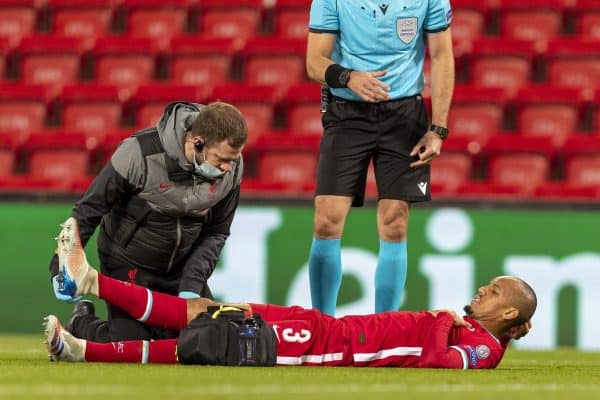 LIVERPOOL, ENGLAND - Tuesday, October 27, 2020: Liverpool's Fabio Henrique Tavares 'Fabinho' is treated for an injury during the UEFA Champions League Group D match between Liverpool FC and FC Midtjylland at Anfield. (Pic by David Rawcliffe/Propaganda)