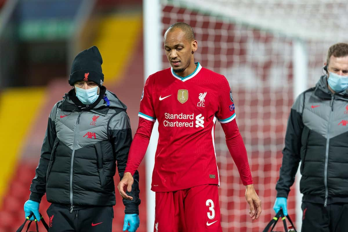 LIVERPOOL, ENGLAND - Tuesday, October 27, 2020: Liverpool's Fabio Henrique Tavares 'Fabinho' walks off injured during the UEFA Champions League Group D match between Liverpool FC and FC Midtjylland at Anfield. (Pic by David Rawcliffe/Propaganda)