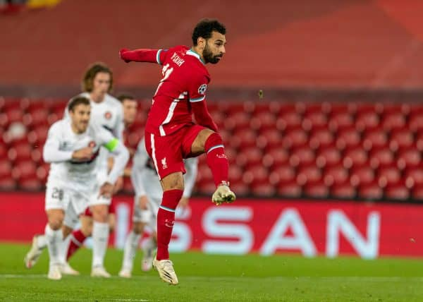 LIVERPOOL, ENGLAND - Tuesday, October 27, 2020: Liverpool's Mohamed Salah scores the second goal from a penalty kick during the UEFA Champions League Group D match between Liverpool FC and FC Midtjylland at Anfield. (Pic by David Rawcliffe/Propaganda)