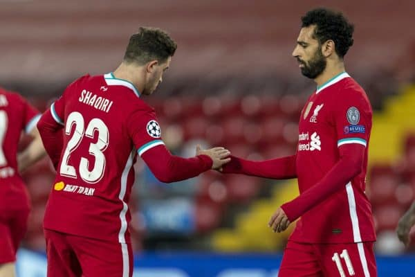 LIVERPOOL, ENGLAND - Tuesday, October 27, 2020: Liverpool's Mohamed Salah (R) celebrates with team-mate Xherdan Shaqiri after scoring the second goal during the UEFA Champions League Group D match between Liverpool FC and FC Midtjylland at Anfield. (Pic by David Rawcliffe/Propaganda)