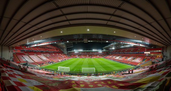 View from the Kop, no fans, Champions League (Pic by David Rawcliffe/Propaganda)
