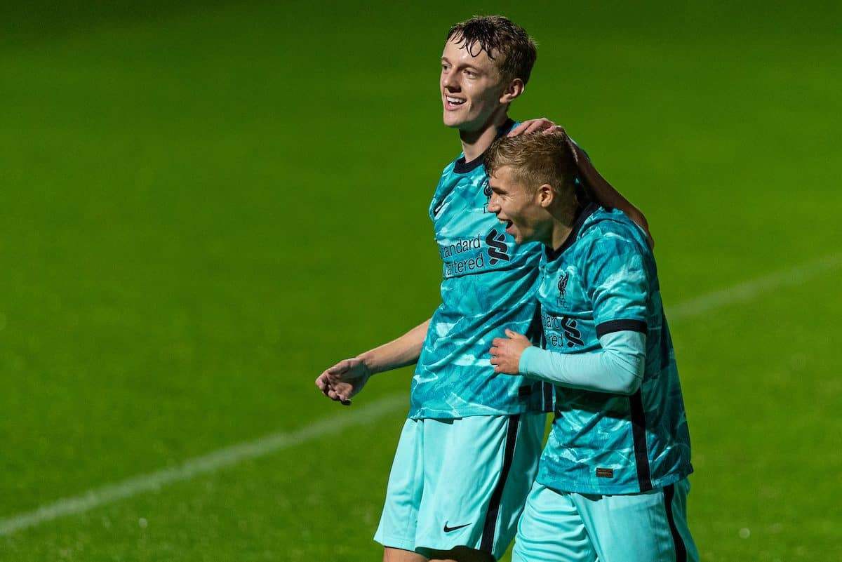 LONDON, ENGLAND - Friday, October 30, 2020: Liverpool's Tom Clayton (L) celebrates after scoring the first goal during the Premier League 2 Division 1 match between Arsenal FC Under-23's and Liverpool FC Under-23's at Meadow Park. (Pic by David Rawcliffe/Propaganda)