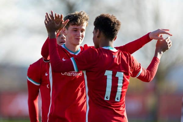 KIRKBY, ENGLAND - Saturday, October 31, 2020: Liverpool's Tyler Morton (L) celebrates with team-mate Melkamu Frauendorf after scoring the third goal, his second of the game, during the Under-18 Premier League match between Liverpool FC Under-18's and Newcastle United FC Under-18's at the Liverpool Academy. (Pic by David Rawcliffe/Propaganda)