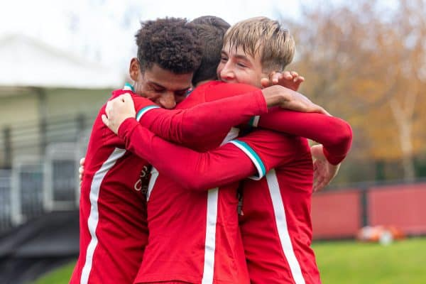 KIRKBY, ENGLAND - Saturday, October 31, 2020: Liverpool's Max Woltman (R) celebrates with team-mates after scoring the first goal during the Under-18 Premier League match between Liverpool FC Under-18's and Newcastle United FC Under-18's at the Liverpool Academy. (Pic by David Rawcliffe/Propaganda)