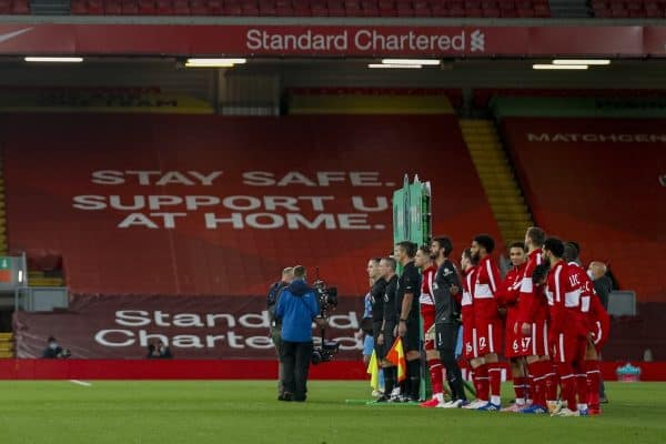 LIVERPOOL, ENGLAND - Saturday, October 31, 2020: Liverpool players line-upbefore the FA Premier League match between Liverpool FC and West Ham United FC at Anfield. The game was played behind closed doors due to the UK government's social distancing laws during the Coronavirus COVID-19 Pandemic. (Pic by Propaganda)
