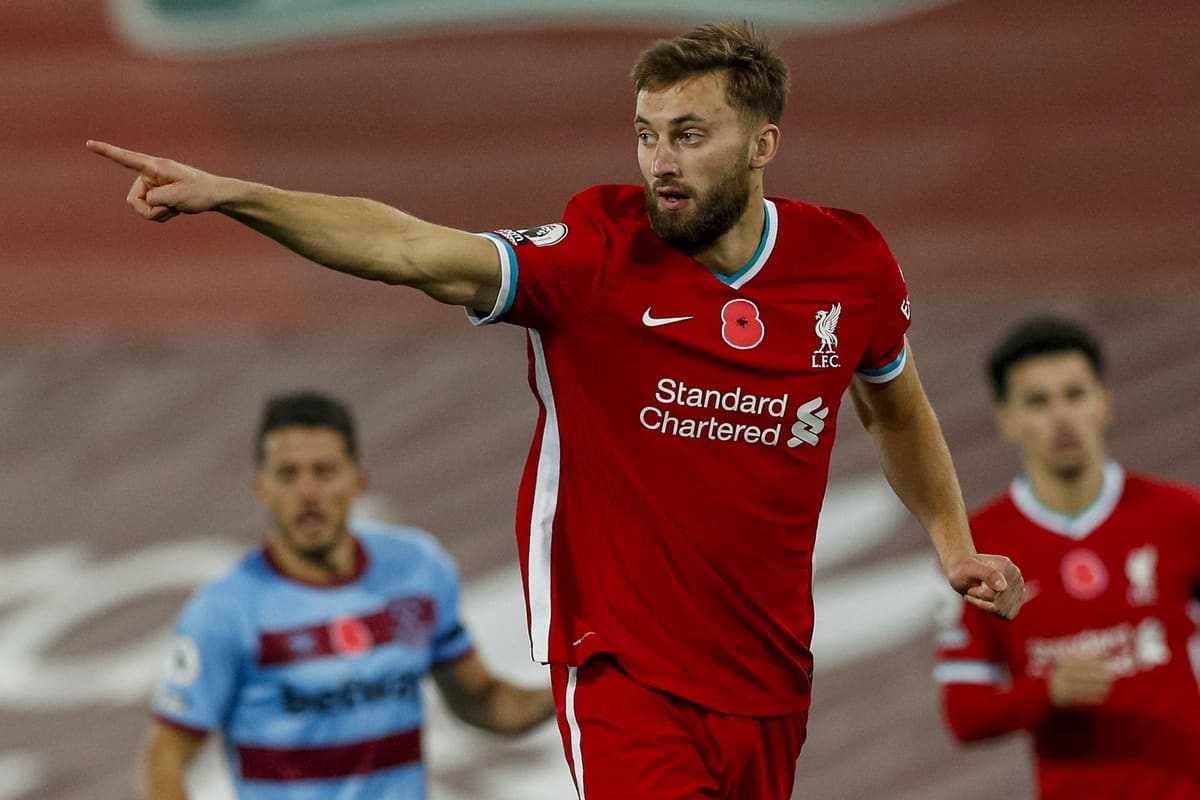 LIVERPOOL, ENGLAND - Saturday, October 31, 2020: Liverpool's Nathaniel Phillips during the FA Premier League match between Liverpool FC and West Ham United FC at Anfield. The game was played behind closed doors due to the UK government's social distancing laws during the Coronavirus COVID-19 Pandemic. (Pic by Propaganda)