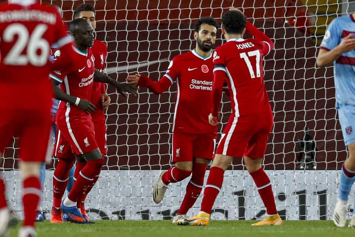 LIVERPOOL, ENGLAND - Saturday, October 31, 2020: Liverpool's Mohamed Salah celebrates after scoring the first equalising goal from a penalty kick to level the score at 1-1 during the FA Premier League match between Liverpool FC and West Ham United FC at Anfield. The game was played behind closed doors due to the UK government's social distancing laws during the Coronavirus COVID-19 Pandemic. (Pic by Propaganda)