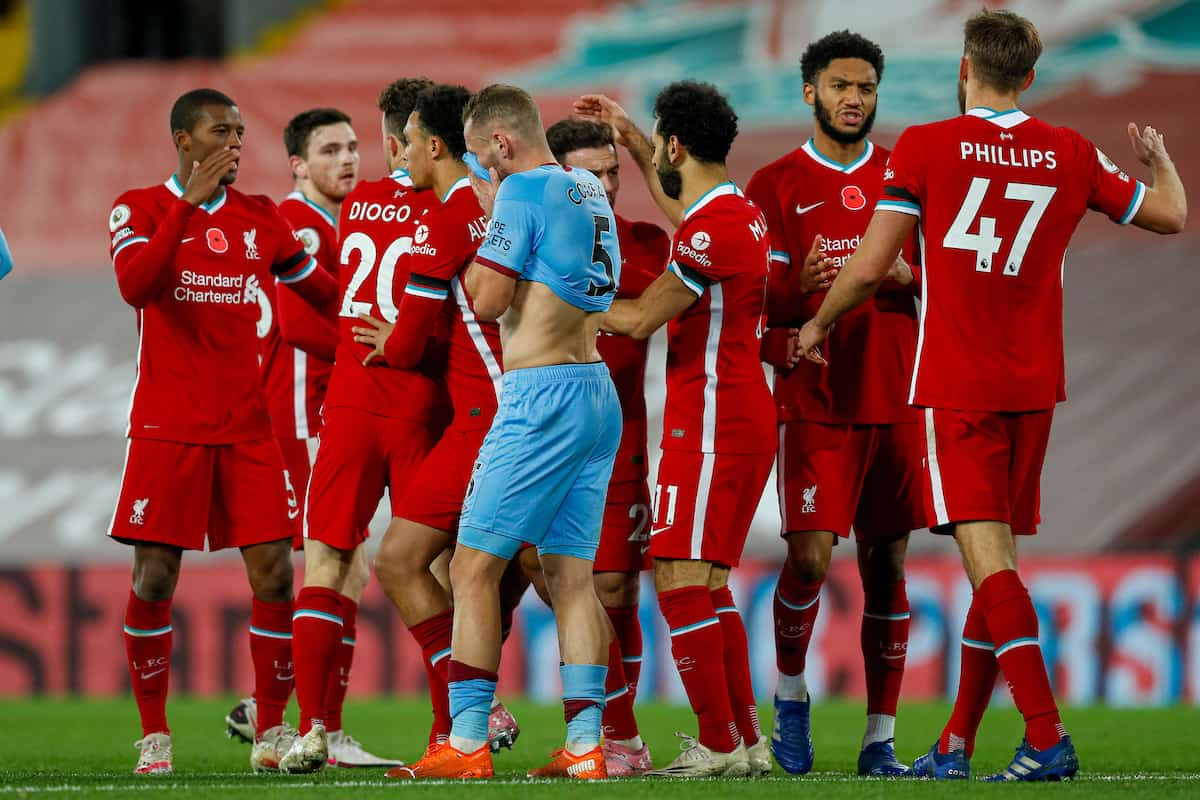 LIVERPOOL, ENGLAND - Saturday, October 31, 2020: Liverpool's Diogo Jota (2nd from L) celebrates after scoring the second winning goal during the FA Premier League match between Liverpool FC and West Ham United FC at Anfield. The game was played behind closed doors due to the UK government's social distancing laws during the Coronavirus COVID-19 Pandemic. (Pic by Propaganda)