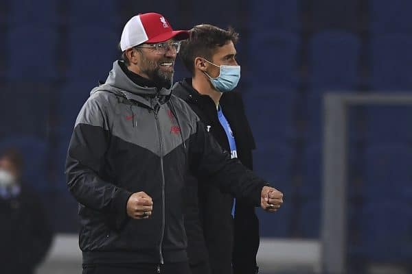 BERGAMO, ITALY - Tuesday, November 3, 2020: Liverpool's manager Jürgen Klopp celebrates after the UEFA Champions League Group D match between Atalanta BC and Liverpool FC at the Stadio di Bergamo. Liverpool won 5-0. (Pic by Simone Arveda/Propaganda)