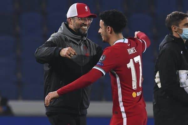 BERGAMO, ITALY - Tuesday, November 3, 2020: Liverpool's manager Jürgen Klopp celebrates with Curtis Jones after the UEFA Champions League Group D match between Atalanta BC and Liverpool FC at the Stadio di Bergamo. Liverpool won 5-0. (Pic by Simone Arveda/Propaganda)