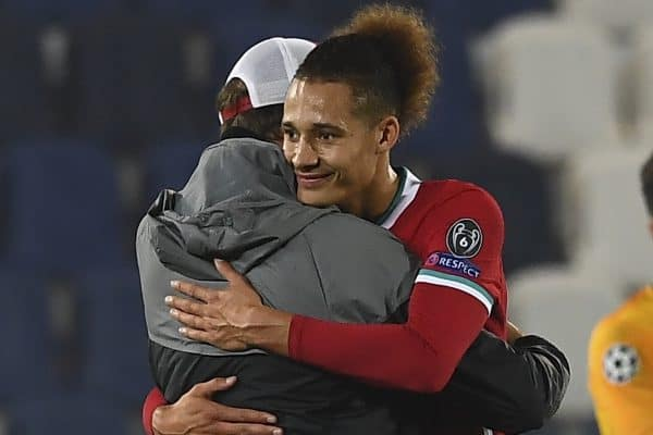 BERGAMO, ITALY - Tuesday, November 3, 2020: Liverpool's manager Jürgen Klopp celebrates with Rhys Williams after the UEFA Champions League Group D match between Atalanta BC and Liverpool FC at the Stadio di Bergamo. Liverpool won 5-0. (Pic by Simone Arveda/Propaganda)