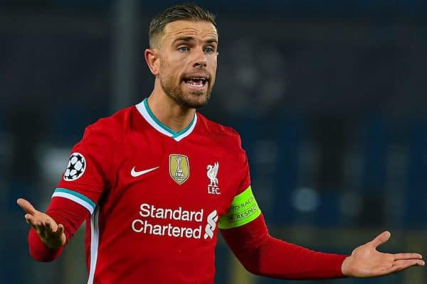 BERGAMO, ITALY - Tuesday, November 3, 2020: Liverpool's captain Jordan Henderson during the UEFA Champions League Group D match between Atalanta BC and Liverpool FC at the Stadio di Bergamo. (Pic by Simone Arveda/Propaganda)