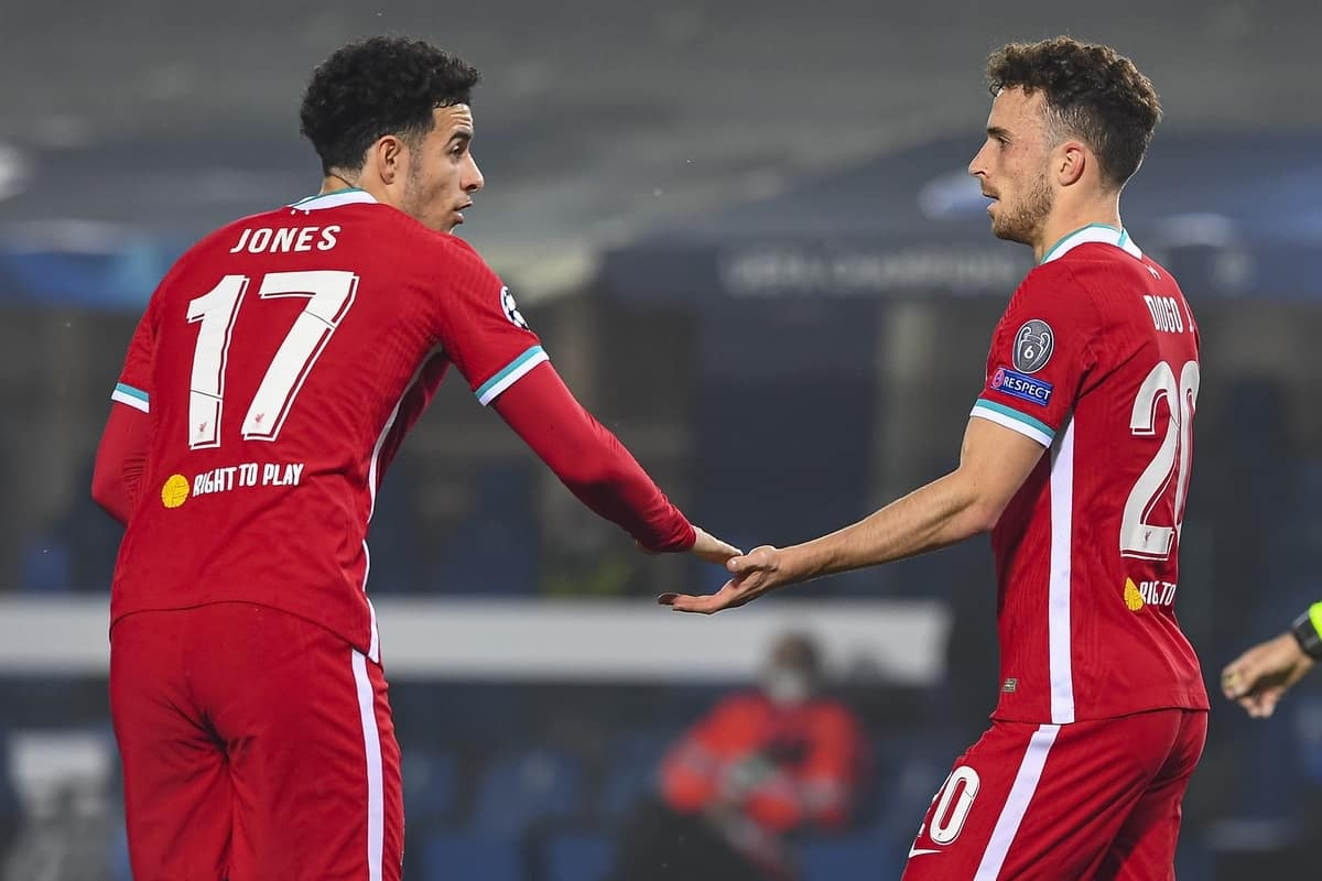 BERGAMO, ITALY - Tuesday, November 3, 2020: Liverpool's Diogo Jota (R) celebrates with team-mate Curtis Jones after scoring the first goal during the UEFA Champions League Group D match between Atalanta BC and Liverpool FC at the Stadio di Bergamo. (Pic by Simone Arveda/Propaganda)