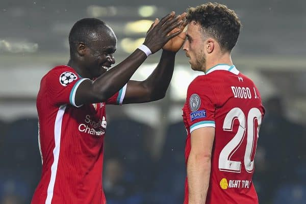 BERGAMO, ITALY - Tuesday, November 3, 2020: Liverpool's Diogo Jota and Sadio Mane during the UEFA Champions League Group D match between Atalanta BC and Liverpool FC at the Stadio di Bergamo. (Pic by Simone Arveda/Propaganda)
