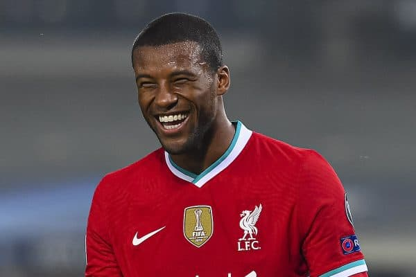 BERGAMO, ITALY - Tuesday, November 3, 2020: Liverpool's Georginio Wijnaldum smiles during the UEFA Champions League Group D match between Atalanta BC and Liverpool FC at the Stadio di Bergamo. (Pic by Simone Arveda/Propaganda)