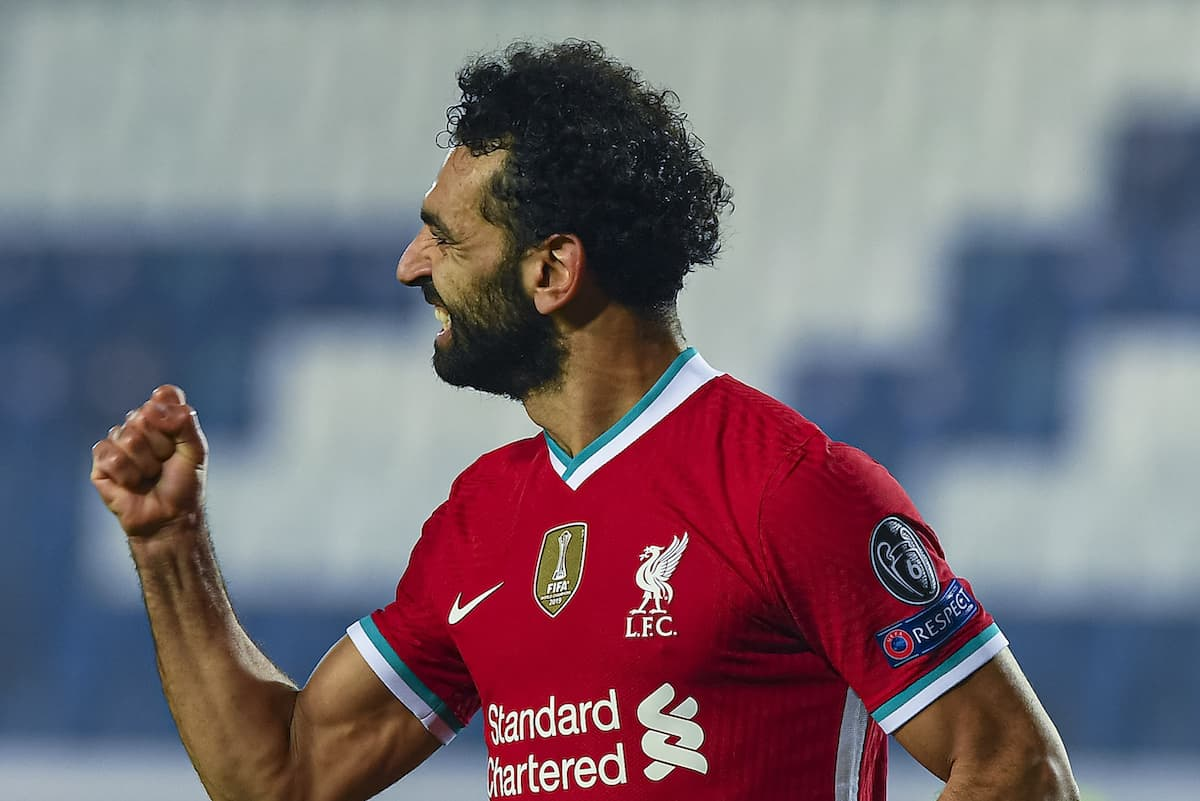 BERGAMO, ITALY - Tuesday, November 3, 2020: Liverpool's Mohamed Salah celebrates after scoring the third goal during the UEFA Champions League Group D match between Atalanta BC and Liverpool FC at the Stadio di Bergamo. (Pic by Simone Arveda/Propaganda)
