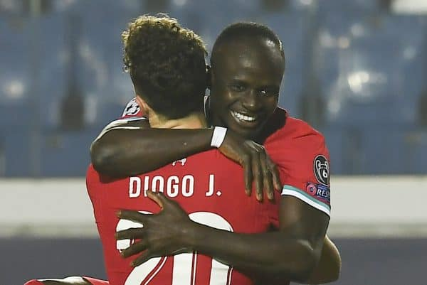 BERGAMO, ITALY - Tuesday, November 3, 2020: Liverpool's Sadio Mané (R) celebrates after scoring the fourth goal with team-mate Diogo Jota during the UEFA Champions League Group D match between Atalanta BC and Liverpool FC at the Stadio di Bergamo. (Pic by Simone Arveda/Propaganda)