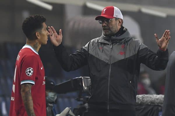 Liverpool's manager Jürgen Klopp prepares to bring on substitute Roberto Firmino during the UEFA Champions League Group D match between Atalanta BC and Liverpool FC at the Stadio di Bergamo. (Pic by Simone Arveda/Propaganda)