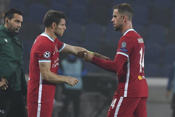 BERGAMO, ITALY - Tuesday, November 3, 2020: Liverpool's captain Jordan Henderson hands over the captain's armband to substitute James Milner during the UEFA Champions League Group D match between Atalanta BC and Liverpool FC at the Stadio di Bergamo. (Pic by Simone Arveda/Propaganda)
