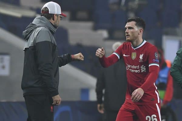 BERGAMO, ITALY - Tuesday, November 3, 2020: Liverpool's manager Jürgen Klopp (L) fist bumps Andy Robertson during the UEFA Champions League Group D match between Atalanta BC and Liverpool FC at the Stadio di Bergamo. (Pic by Simone Arveda/Propaganda)