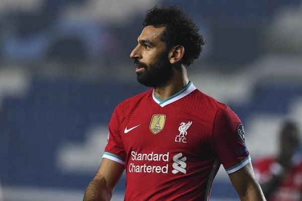 BERGAMO, ITALY - Tuesday, November 3, 2020: Liverpool's Mohamed Salah during the UEFA Champions League Group D match between Atalanta BC and Liverpool FC at the Stadio di Bergamo. (Pic by Simone Arveda/Propaganda)