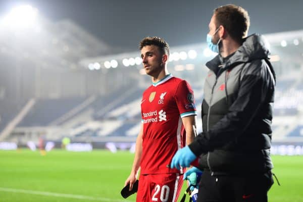 BERGAMO, ITALY - Tuesday, November 3, 2020: Liverpool's hat-trick hero Diogo Jota walks off injured during the UEFA Champions League Group D match between Atalanta BC and Liverpool FC at the Stadio di Bergamo. (Pic by Simone Arveda/Propaganda)