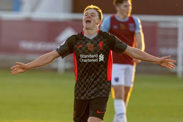 LONDON, ENGLAND - Friday, November 6, 2020: Liverpool's substitute Paul Glatzel celebrates after scoring the fourth goal during the Premier League 2 Division 1 match between West Ham United FC Under-23's and Liverpool FC Under-23's at Rush Green. Liverpool won 4-2. (Pic by David Rawcliffe/Propaganda)