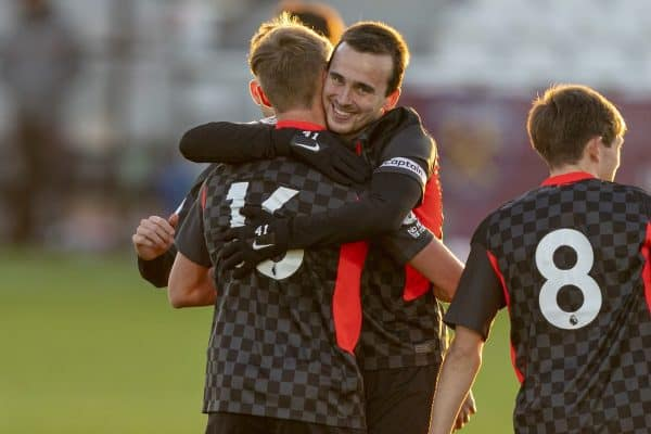 LONDON, ENGLAND - Friday, November 6, 2020: Liverpool's substitute Paul Glatzel (L) celebrates with team-mate captain Liam Millar after scoring the fourth goal during the Premier League 2 Division 1 match between West Ham United FC Under-23's and Liverpool FC Under-23's at Rush Green. Liverpool won 4-2. (Pic by David Rawcliffe/Propaganda)