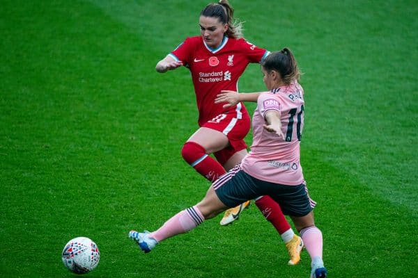 BIRKENHEAD, ENGLAND - Sunday, November 8, 2020: Liverpool's Amalie Thestrup gets past Sheffield United's Alethea Paul during the FA Women's Championship game between Liverpool FC Women and Sheffield United Women FC at Prenton Park. (Pic by David Rawcliffe/Propaganda)