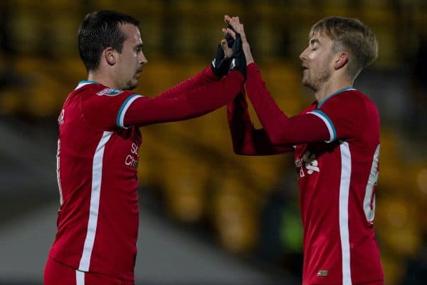 STOKE-ON-TRENT, ENGLAND - Tuesday, November 10, 2020: Liverpool's Liam Millar (L) with team=mate Jake Cain celebrates after scoring the first goal during the EFL Trophy Northern Group D match between Port Vale FC and Liverpool FC Under-21's at Vale Park. (Pic by David Rawcliffe/Propaganda)