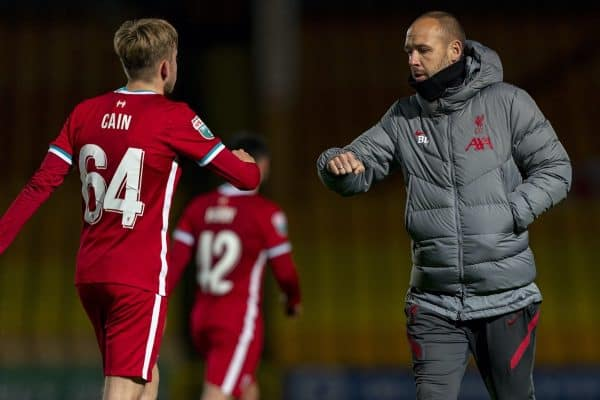 STOKE-ON-TRENT, ENGLAND - Tuesday, November 10, 2020: Liverpool's manager Barry Lewtas fist bumps Jake Cain after the EFL Trophy Northern Group D match between Port Vale FC and Liverpool FC Under-21's at Vale Park. (Pic by David Rawcliffe/Propaganda)