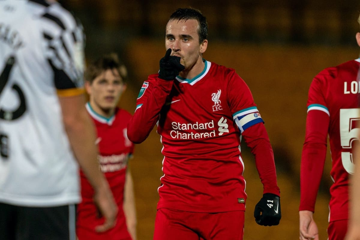 STOKE-ON-TRENT, ENGLAND - Tuesday, November 10, 2020: Liverpool's Liam Millar celebrates after scoring the first goal, his second of the game, during the EFL Trophy Northern Group D match between Port Vale FC and Liverpool FC Under-21's at Vale Park. (Pic by David Rawcliffe/Propaganda)