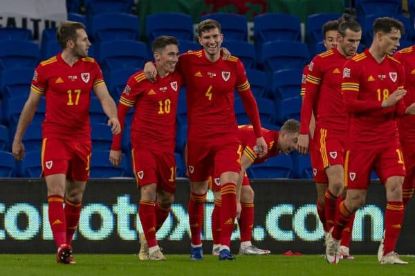 CARDIFF, WALES - Wednesday, November 18, 2020: Wales' Harry Wilson (2nd from L) celebrates after scoring the first goal with team-mate Chris Mepham during the UEFA Nations League Group Stage League B Group 4 match between Wales and Finland at the Cardiff City Stadium. (Pic by David Rawcliffe/Propaganda)