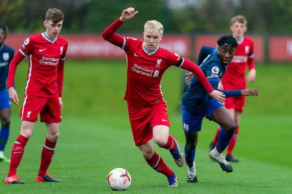 KIRKBY, ENGLAND - Saturday, November 21, 2020: Liverpool's Luis Longstaff during the Premier League 2 Division 1 match between Liverpool FC Under-23's and Southampton FC Under-23's at the Liverpool Academy. (Pic by David Rawcliffe/Propaganda)