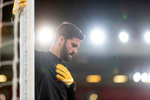 LIVERPOOL, ENGLAND - Sunday, November 22, 2020: Liverpool's goalkeeper Alisson Becker during the pre-match warm-up before the FA Premier League match between Liverpool FC and Leicester City FC at Anfield. The game was played behind closed doors due to the UK government's social distancing laws during the Coronavirus COVID-19 Pandemic. (Pic by David Rawcliffe/Propaganda)