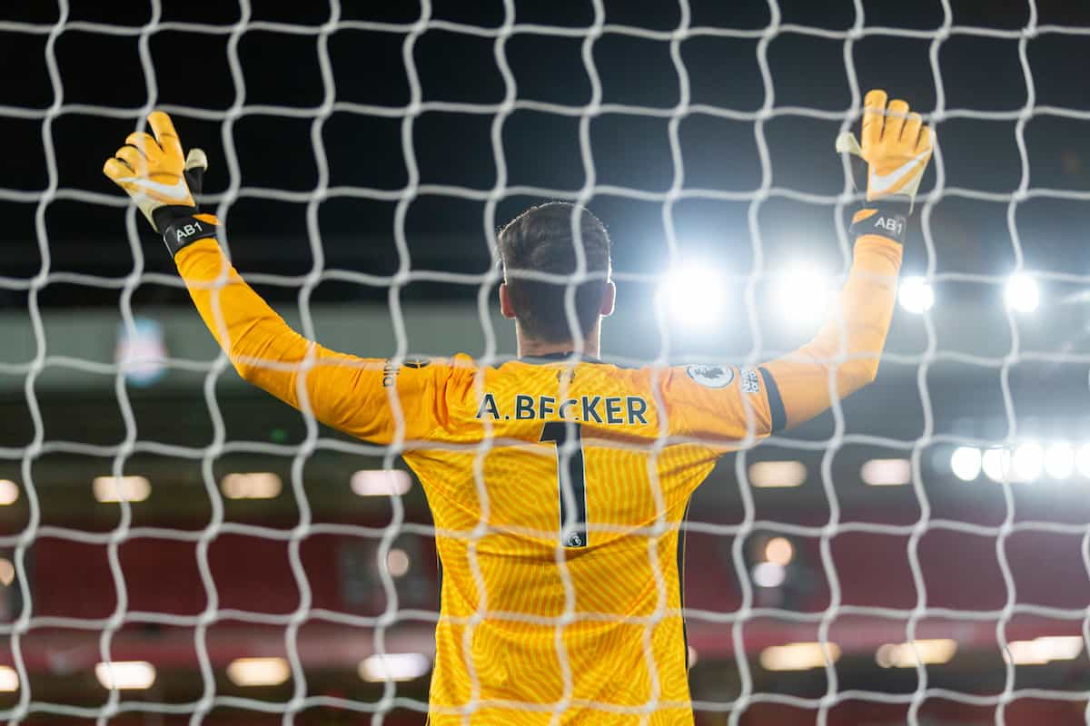 LIVERPOOL, ENGLAND - Sunday, November 22, 2020: Liverpool's goalkeeper Alisson Becker before the FA Premier League match between Liverpool FC and Leicester City FC at Anfield. The game was played behind closed doors due to the UK government's social distancing laws during the Coronavirus COVID-19 Pandemic. (Pic by David Rawcliffe/Propaganda)