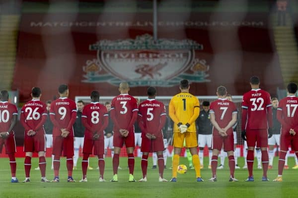 LIVERPOOL, ENGLAND - Sunday, November 22, 2020: Liverpool' players stand to remember former Liverpool and England goalkeeper Ray Clemence who died earlier in the week, before the FA Premier League match between Liverpool FC and Leicester City FC at Anfield. The game was played behind closed doors due to the UK government's social distancing laws during the Coronavirus COVID-19 Pandemic. (Pic by David Rawcliffe/Propaganda)