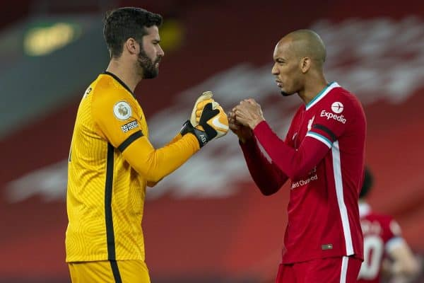 LIVERPOOL, ENGLAND - Sunday, November 22, 2020: Liverpool's goalkeeper Alisson Becker (L) and Fabio Henrique Tavares 'Fabinho' before the FA Premier League match between Liverpool FC and Leicester City FC at Anfield. The game was played behind closed doors due to the UK government's social distancing laws during the Coronavirus COVID-19 Pandemic. (Pic by David Rawcliffe/Propaganda)