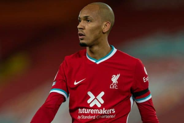 LIVERPOOL, ENGLAND - Sunday, November 22, 2020: Liverpool's Fabio Henrique Tavares 'Fabinho' during the FA Premier League match between Liverpool FC and Leicester City FC at Anfield. The game was played behind closed doors due to the UK government's social distancing laws during the Coronavirus COVID-19 Pandemic. (Pic by David Rawcliffe/Propaganda)