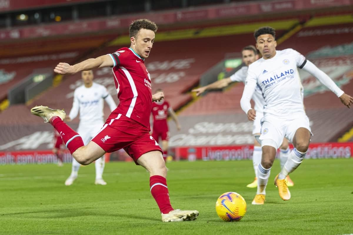 LIVERPOOL, ENGLAND - Sunday, November 22, 2020: Liverpool's Diogo Jota during the FA Premier League match between Liverpool FC and Leicester City FC at Anfield. The game was played behind closed doors due to the UK government's social distancing laws during the Coronavirus COVID-19 Pandemic. (Pic by David Rawcliffe/Propaganda)
