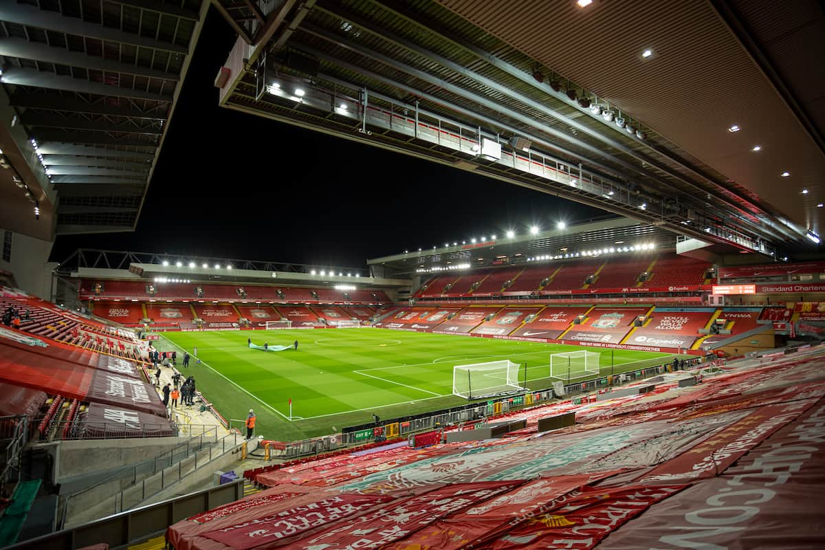 LIVERPOOL, ENGLAND - Sunday, November 22, 2020: A general view before the FA Premier League match between Liverpool FC and Leicester City FC at Anfield. The game was played behind closed doors due to the UK government's social distancing laws during the Coronavirus COVID-19 Pandemic. (Pic by David Rawcliffe/Propaganda)