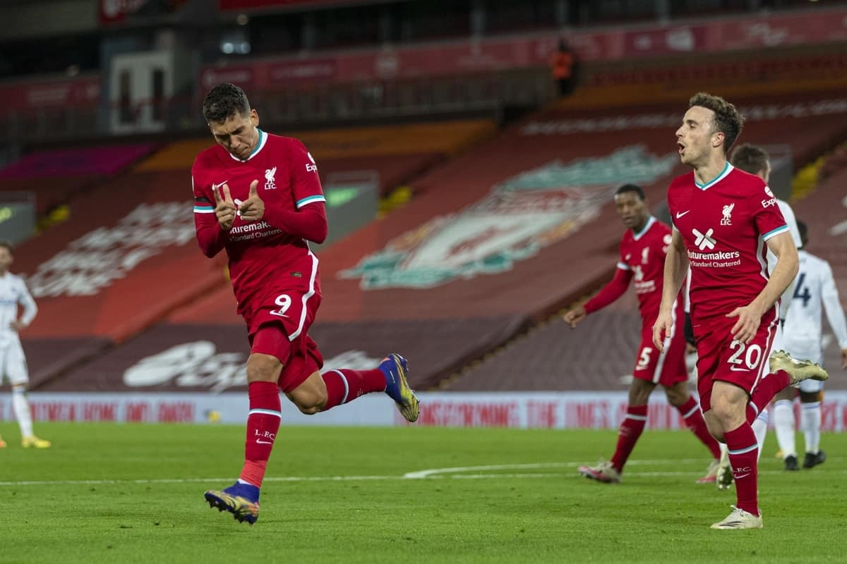 LIVERPOOL, ENGLAND - Sunday, November 22, 2020: Liverpool's Roberto Firmino celebrates after scoring the third goal during the FA Premier League match between Liverpool FC and Leicester City FC at Anfield. The game was played behind closed doors due to the UK government's social distancing laws during the Coronavirus COVID-19 Pandemic. (Pic by David Rawcliffe/Propaganda)