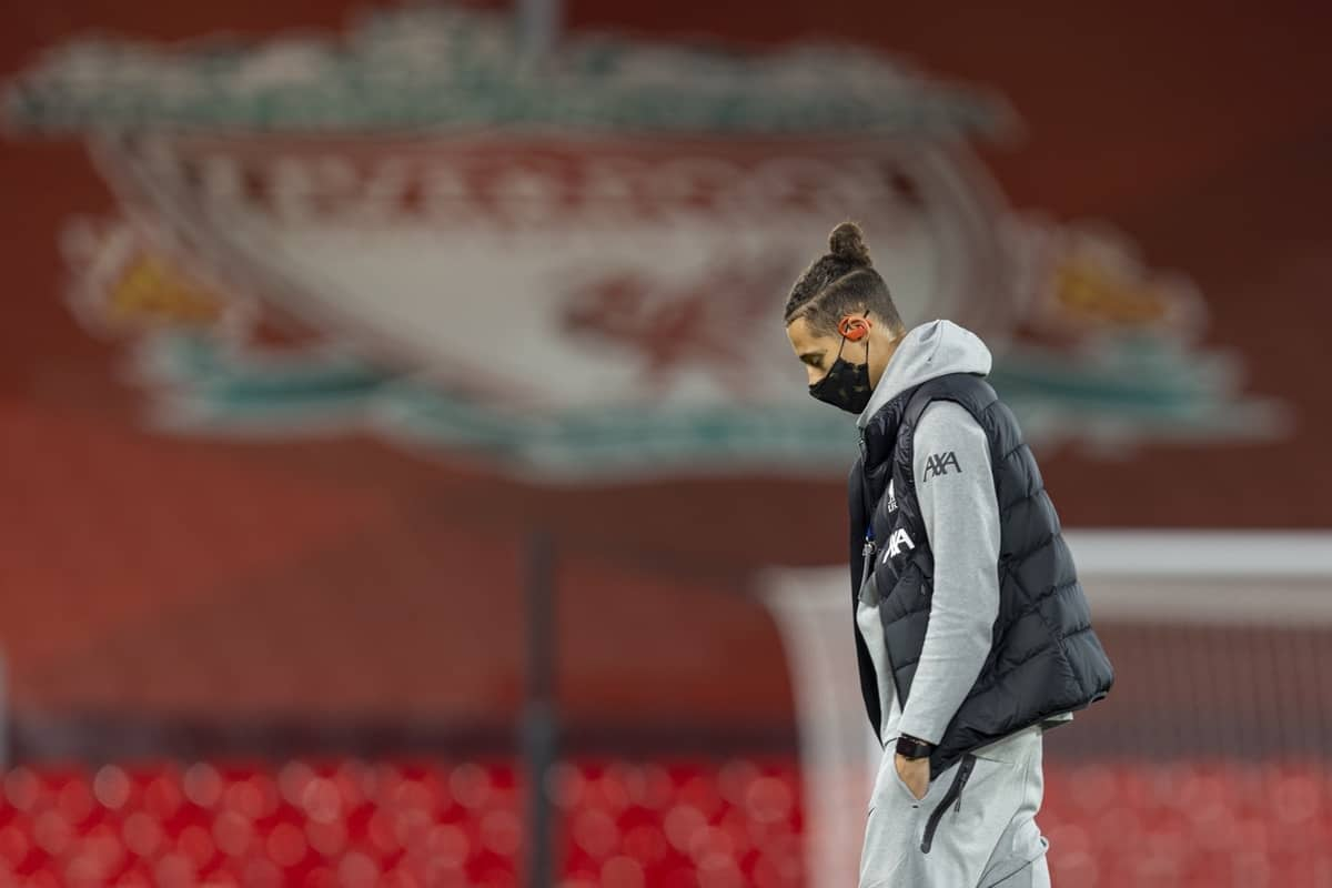 LIVERPOOL, ENGLAND - Wednesday, November 25, 2020: Liverpool's Rhys Williams on the pitch before the UEFA Champions League Group D match between Liverpool FC and Atalanta BC at Anfield. (Pic by David Rawcliffe/Propaganda)