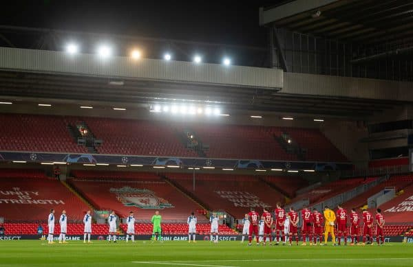 LIVERPOOL, ENGLAND - Wednesday, November 25, 2020: Liverpool and Atalanta players stand for a moment's silence, to remember Diego Maradona who died earlier in the day, before the UEFA Champions League Group D match between Liverpool FC and Atalanta BC at Anfield. (Pic by David Rawcliffe/Propaganda)